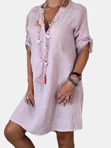 Color sólido con cuello en V Casual Vestido