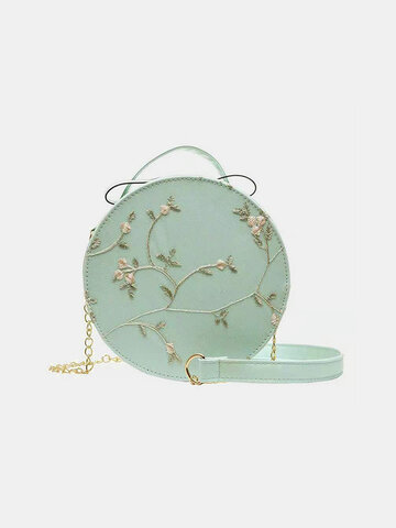 Floral Lace Embroidered Round Bag Umhängetasche