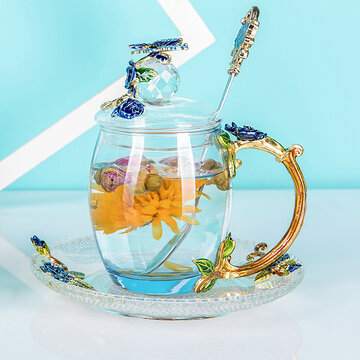 Enamel Cup Gift Cup Flower Teacup Glass Enamel Tea Mug Coffee Cup with Spoon