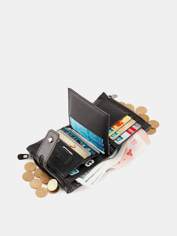 RFID Genuine Leather Money Clip Multi-card Slots Coin Purse Wallet