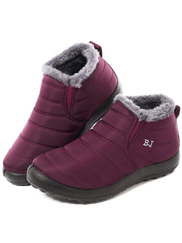 Letter Waterproof Warm Fur Boots