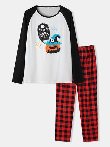 Halloween Funny Print Raglan Sleeve Pajamas
