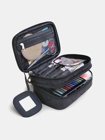Women Waterproof Travel Double Layer Storage Cosmetic Bag