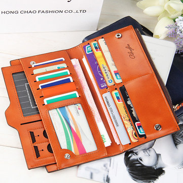 Women Oil Leather Ultrathin Wallet Bright PU Leather Wallet
