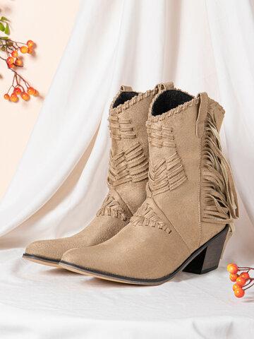 Tassel Low-Heel  Mid-calf Cowboy Boots