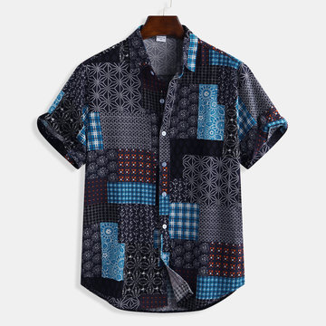 Ethnic Style Patchwork Printing Cotton Casual Shirt