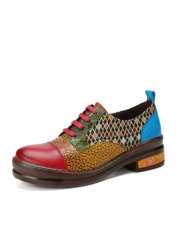 Socofy Leather Patchwork Color Block Flats