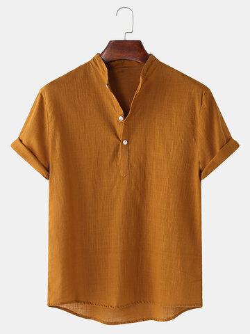 Henley de linho respirável para homem Camisa