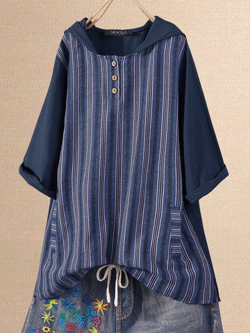 Stripe Patchwork Hooded Blouse, White blue