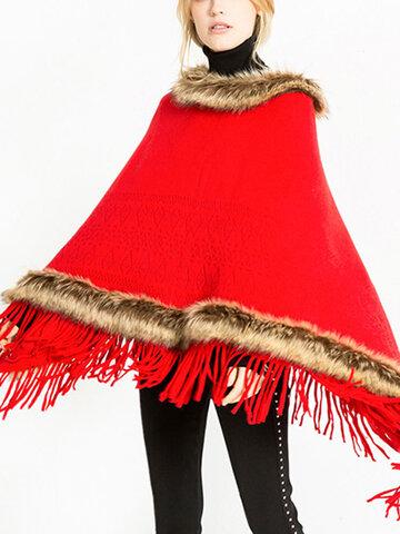 Tassel Solid Fur Poncho With Hood Warm Scarves