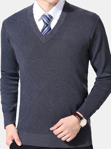 Brief Style Warm Knitted V-neck Casual Sweater