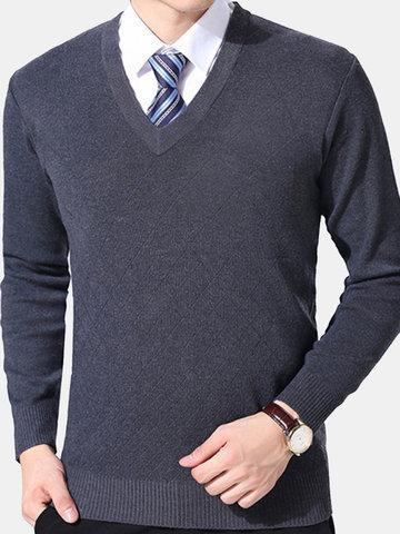 Kurzer Stil Warm gestrickter V-Ausschnitt Casual Sweater