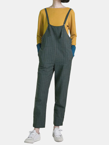 Striped Harem Bib Overalls Jumpsuit