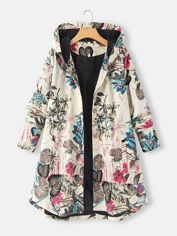 Flowers Print Hooded Coat