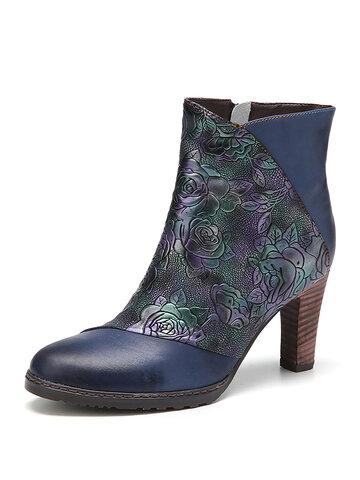 Vintage Flowers Embossed Genuine Leather High Heel Short Boots