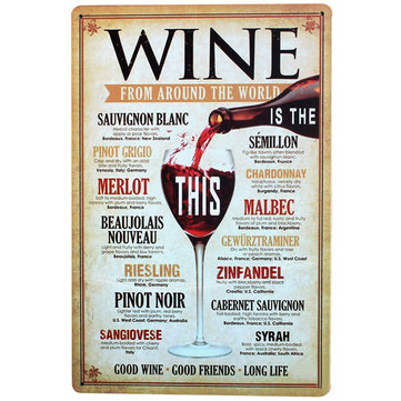 MENU DES PLANS Vintage Wine Sign Retro Tin N