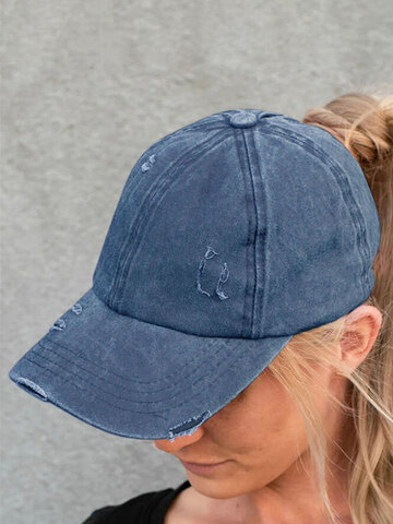 Hollow Out Ripped Washed Denim Baseball Cap