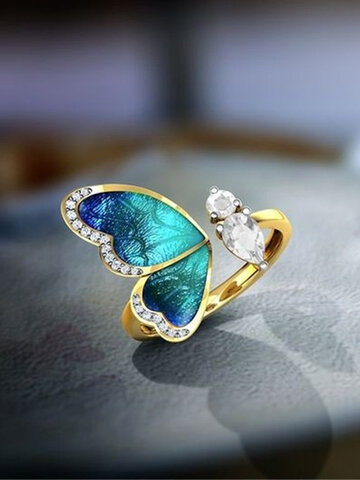 Gradient Butterfly Wing Opening Ring