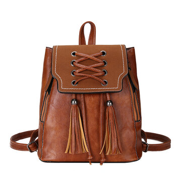 Women Solid Color Retro Lace Backpack