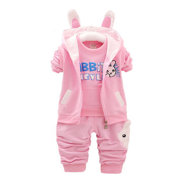 Bunny Three-piece Long-sleeved Baby Sports Suit