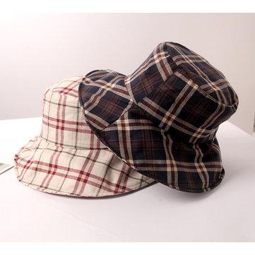 Plaid Fisherman Hat Simple Couple Bucket Caps