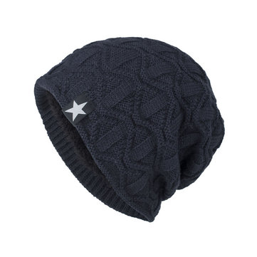 White Five-star Cloth Wave Pattern Pullover Cap Knitted Cap
