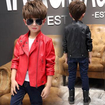 बच्चों के कपड़ों का लड़का चमड़ा जैकेट
