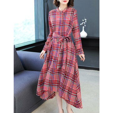 Stand Collar Long Sleeve Irregular Retro Plaid Dress