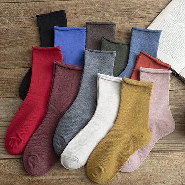 New Product Curling Tube Socks Women's Wild Color Stockings Cotton Retro Color Women's Socks