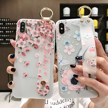 Peach Blossom Embossed Wristband Phone Case Silicone