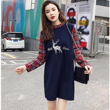 Long-sleeved Mosaic Plaid Cotton Linen Dress