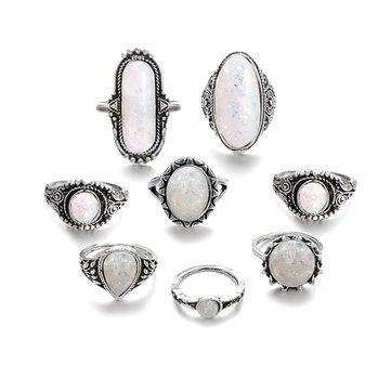 Kit anelli opalini goccia d'acqua