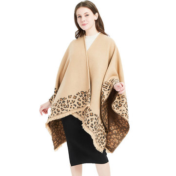 New Leopard Slit Large Shawl Cashmere Scarf Ladies Increase Cloak