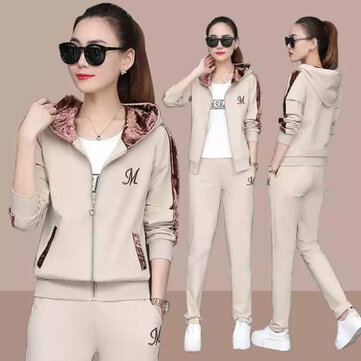 Running Sportswear Suit Long-sleeved Hooded Loose Two-piece