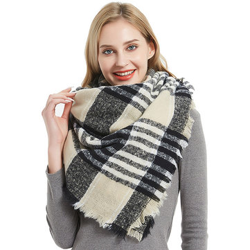 New Circle Yarn Bristles Double-sided Color Square Scarf Scarf Female Collar Shawl