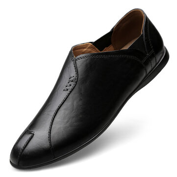 Men Set Foot Casual Leather Shoes Large Size Driving Shoes