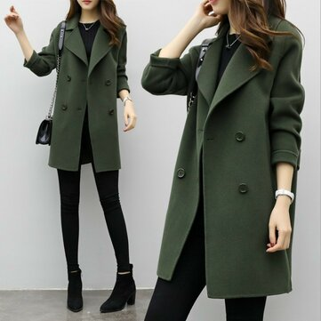 Long Section Of The Double-breasted Loose Thin Woolen Coat