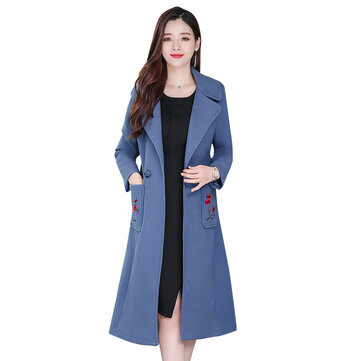 Embroidery Woolen Coat