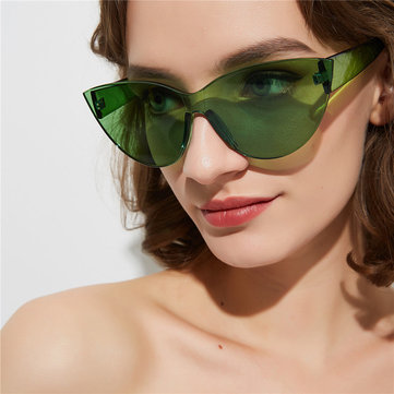Borderless One-piece Glasses Male Sharp Corner Big Box Cat's Eye Sunglasses Female Retro Sunglasses