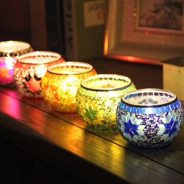 Handcrafted Candle Holder Mosaic Glass Colors Strip Candles