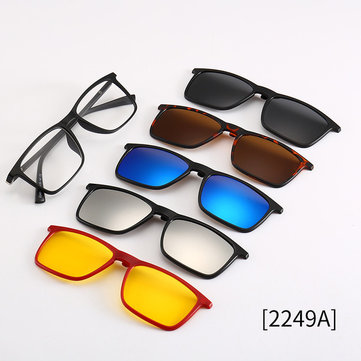 1 With 5 Sets Of Mirrors New Myopia Glasses Set Mirror Sunglasses Retro Men And Women Polarized Magnetic
