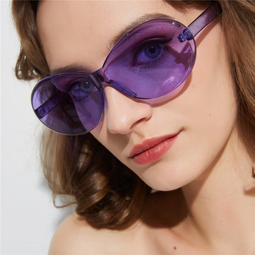 Retro Oval Color Sunglasses Female Conjoined Frameless