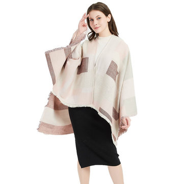 Pink Jacquard Lattice Split Big Shawl Cashmere Scarf Ladies Fashion Cloak