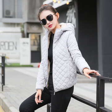 Thickening Lamb Fur Hooded Cotton Padded Coat