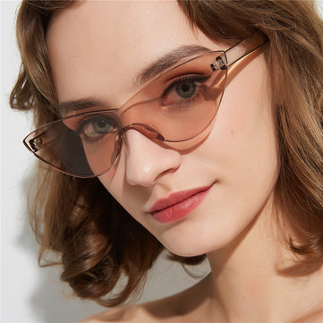 Glasses Popular Cat Eyes Frameless Conjoined Sunglasses