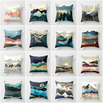 Mountain Forest Landscape Peach Skin Cushion Cover