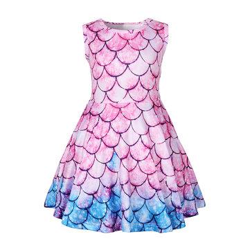 Colorful Mermaid Girls Dress For 3-11Y