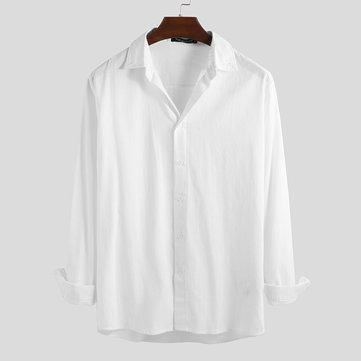 Mens Solid Color Long Sleeve Shirts