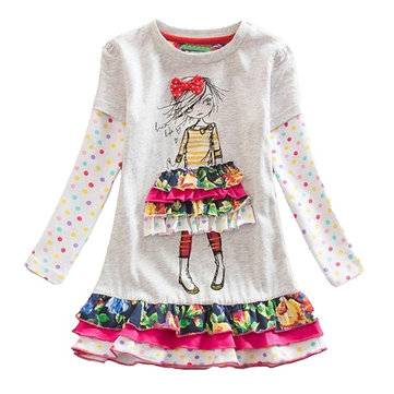 Girl's Appliques Flower Patch Dress For 2-9Y