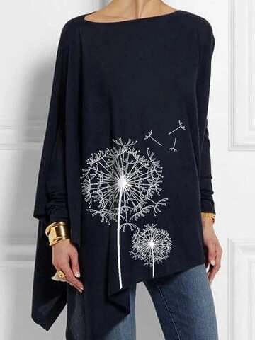 Casual Print Crew Neck Asymmetrical Long Sleeve Blouse